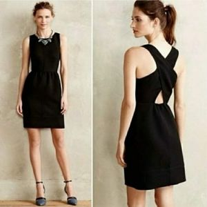 Anthropologie Maeve Rokin Cross Back Black Dress
